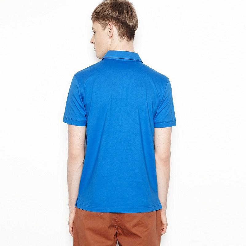 本布领蓝色翻领空白商务t恤制作