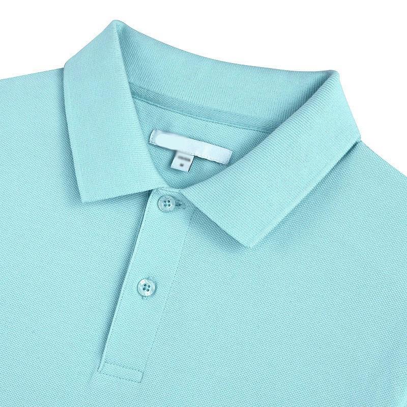 水蓝色翻领T恤衫