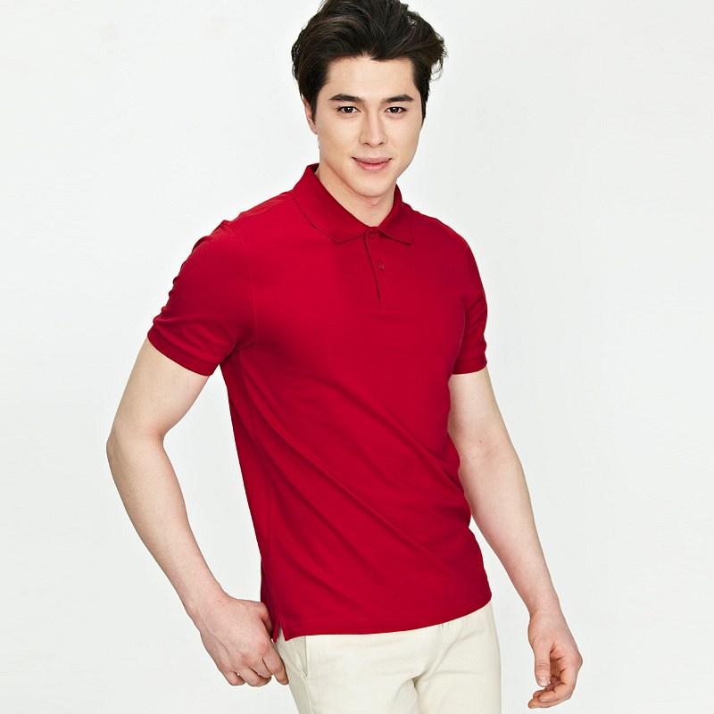 > 【定制】大红色商务polo衫时尚纯棉t恤衫加工定制