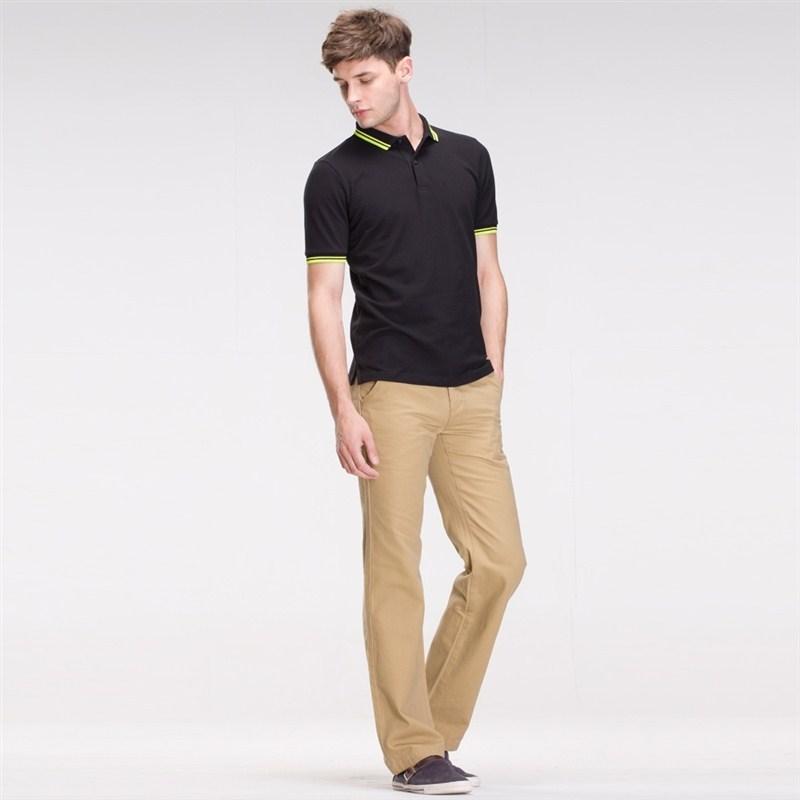 > 【定制】黑色时尚t恤衫订做男士商务潮流款式搭配