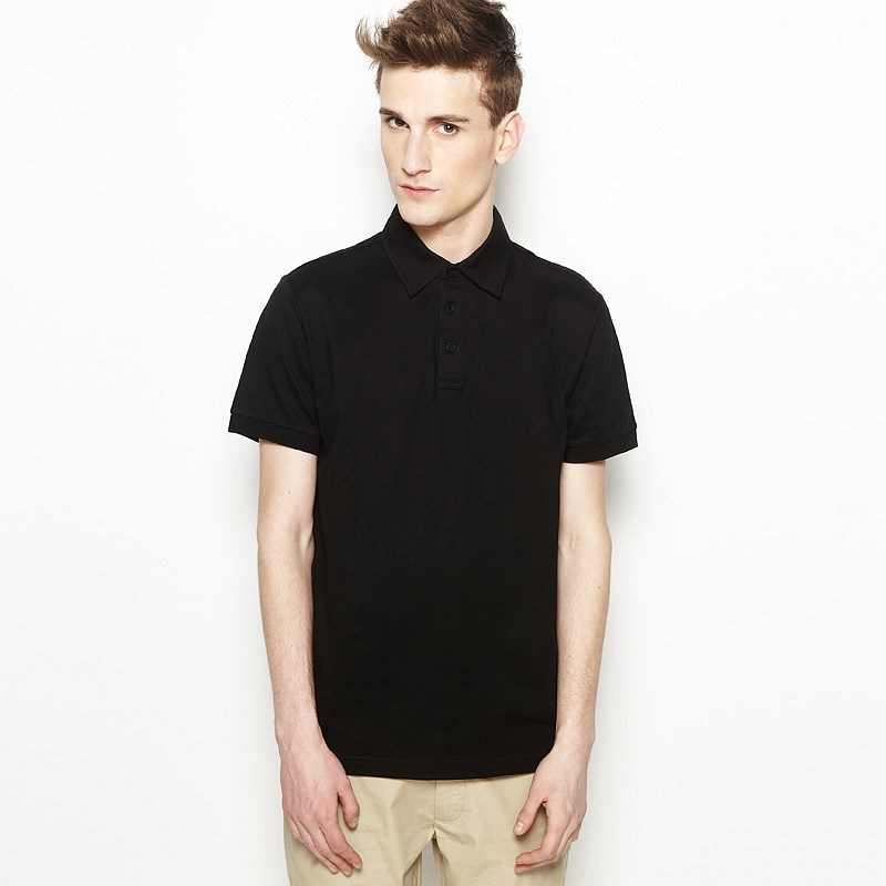 > 【定制】黑色t恤衫男士翻领polo款定制-保罗服装提供