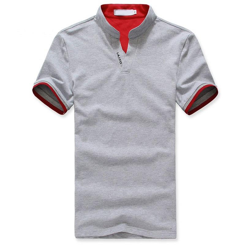 花灰色小立领T恤衫