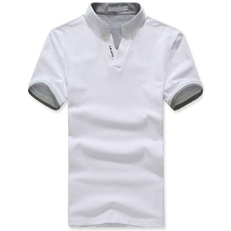 白色小立领T恤衫