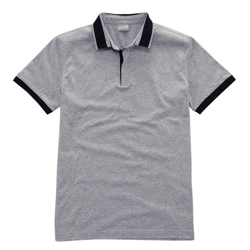 > 【定制】衣领撞色翻领短袖t恤衫 男士纯棉时尚t恤