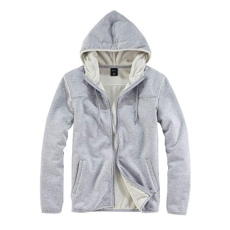 灰色开衫卫衣
