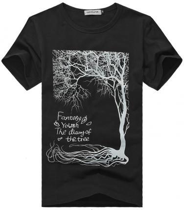 时尚休闲黑色手绘圆领t恤衫