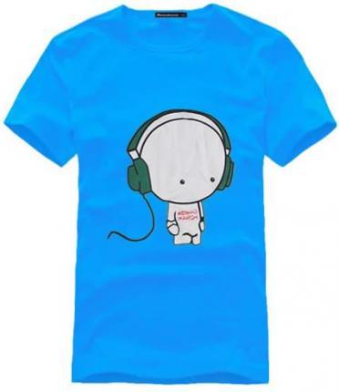 > 【定制】蓝色可爱印花图案时尚t恤衫